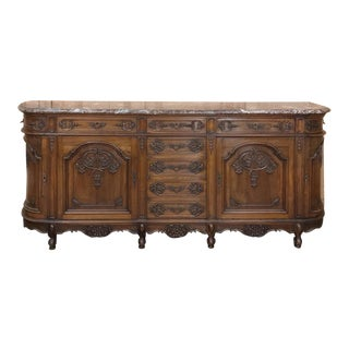 Antique French Walnut Regence Marble Top Buffet For Sale