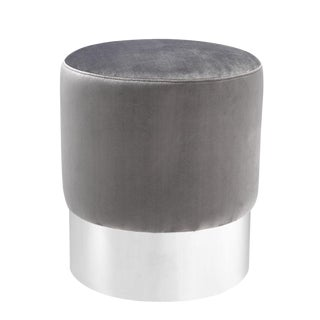 Eichholtz Pall Mall Gray Velvet Stool For Sale