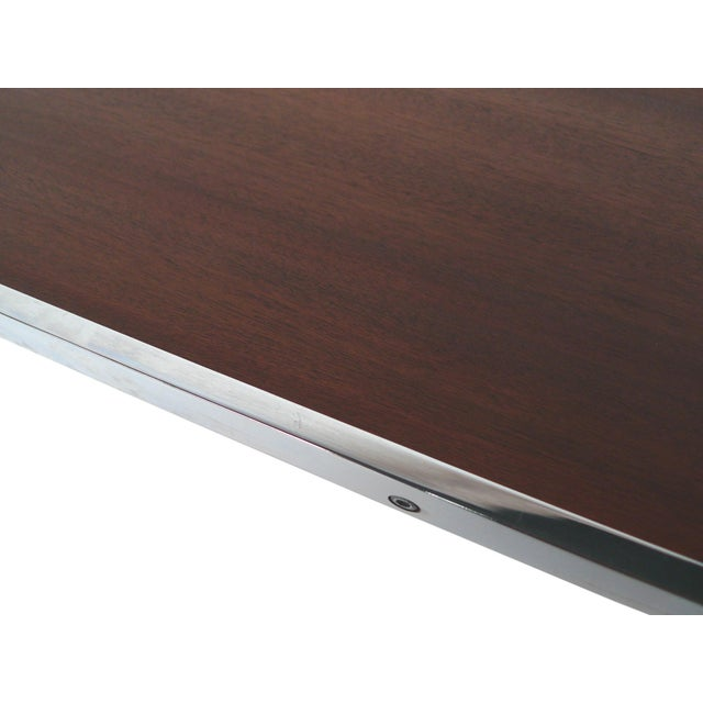 Modern Walnut & Chrome Low Coffee Table - Image 5 of 7