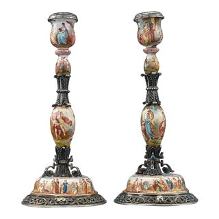 19th Century Viennese Enamel Candlesticks - A Pair For Sale