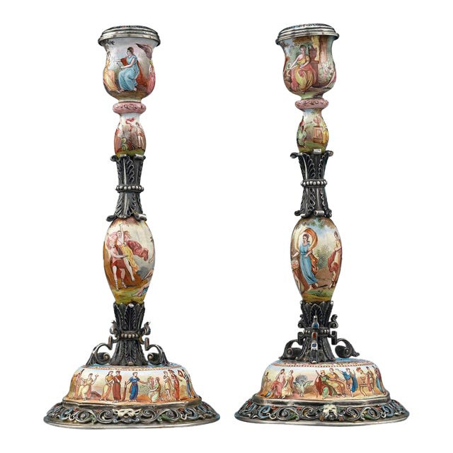 19th Century Viennese Enamel Candlesticks - A Pair - Image 1 of 4