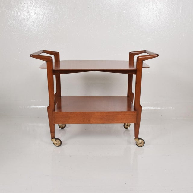 1960s Mid-Century Mexican Modern Mahogany Service Cart For Sale - Image 5 of 10