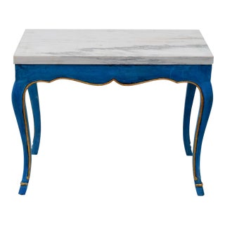 Italian Marble Top Cocktail Table in the Louis XV Style With Hoof Feet For Sale