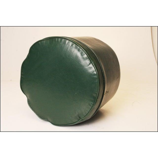 Mid Century Modern Dark Green Vinyl Ottoman - Image 5 of 11