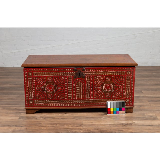 Antique Madura Blanket Chest With Inlaid Mother-Of-Pearl Red Geometric Decor For Sale - Image 11 of 13