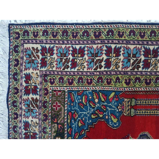 1980s Traditional Oriental Handmade Prayer Carpet, Double Knotted Small Sized Pile Rug, Wall Hanging Floor Covering Rugs, 3' X 4'7'' / 92x139cm For Sale - Image 4 of 6