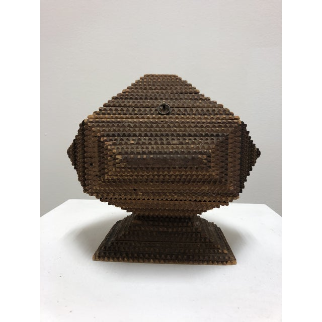 Very cool geometric tramp art box made from cigar boxes. Dates to the 1920s-1940s