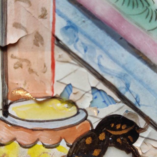 Ceramic Chinese Rose Mandarin Pattern Porcelain Charger, Framed For Sale - Image 7 of 11