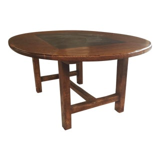 Arts & Crafts Style Dining Table Slate Top For Sale