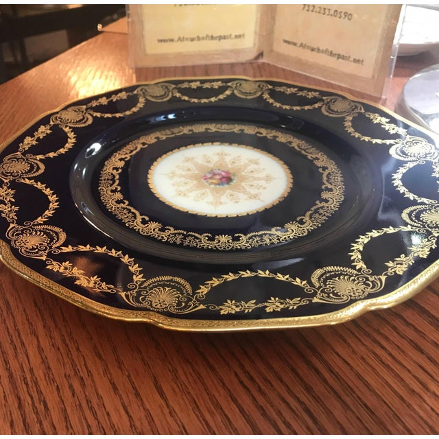 Edwardian 20th Century Edwardian Sumptuous Cobalt and Gold Service Dinner Plates - Set of 10 For Sale - Image 3 of 10