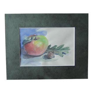 Watercolor Still-Life Painting of an Apple and an Acorn For Sale