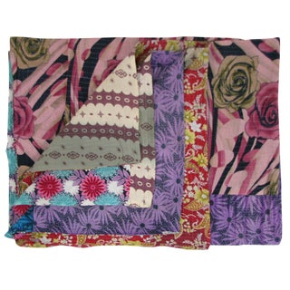 Rug & Relic Rose and Violet Vintage Kantha Quilt