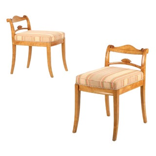 Biedermeier Style Carved Birch Lowback Chairs - A Pair For Sale