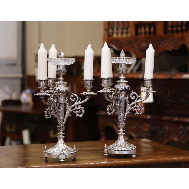 Decorate a table with this pair of impressive, antique candelabras. Crafted in France, circa 1890, each piece has three...