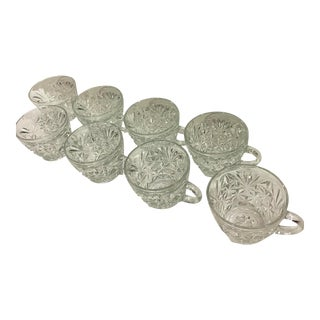 Vintage Cut Glass Punch Cups - Set of 8 For Sale