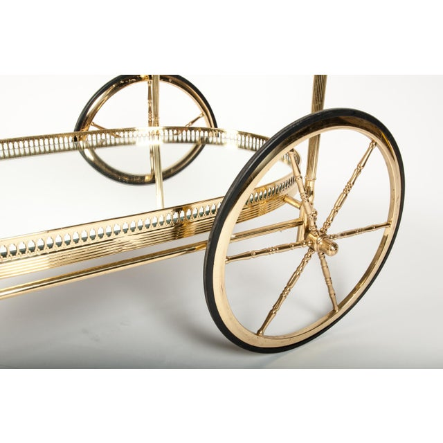 French Vintage Solid Brass Bar Cart With Mirrored Shelves For Sale - Image 4 of 5