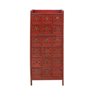Chinese Vintage Red 18 Drawers Medicine Apothecary Cabinet For Sale