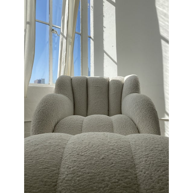 Postmodern Bouclé Clam Chair & Ottoman For Sale - Image 4 of 10