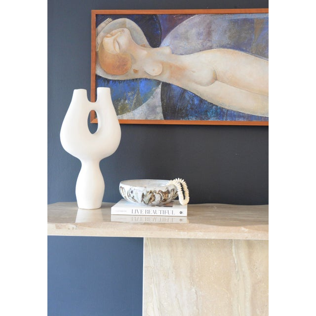 Postmodern 1980s Marble/Stone Console With Undulating Edge For Sale - Image 3 of 6