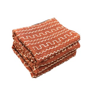 """Superb African Bogolan Brown & White Mud Cloth Textile 64 """" by 41 """" Pair For Sale"""