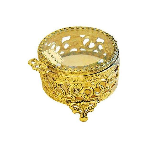 1960s 1960s Vintage 24k Gold-Plated Filigree Trinket Box For Sale - Image 5 of 6