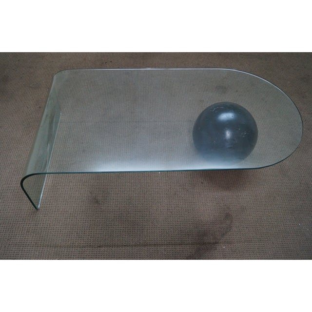 Mid-Century Curved Waterfall Glass Coffee Table - Image 7 of 10