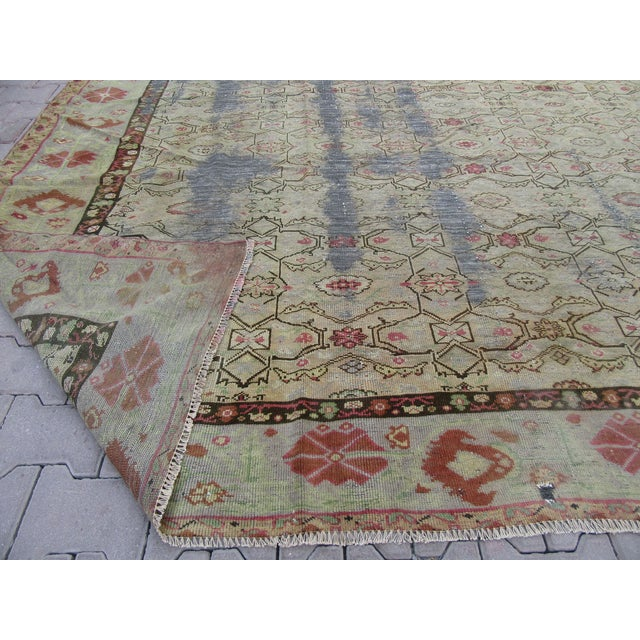 1920s Distressed Antique Oversized Square Rug - 12′10″ × 13′9″ For Sale - Image 5 of 6