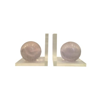 Late 20th Century Vintage Lucite Bookends - a Pair For Sale