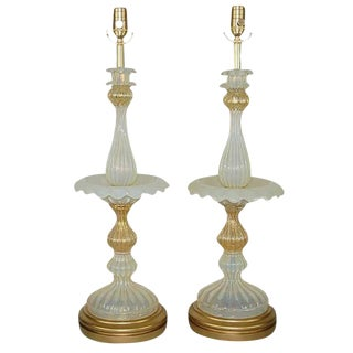 Epergne Murano Table Lamps in White Opaline