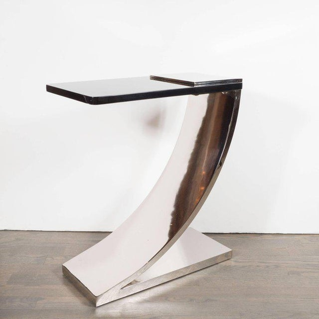 Sophisticated Modernist Polished Nickel and Black Lacquer Side or Drinks Table - Image 2 of 8