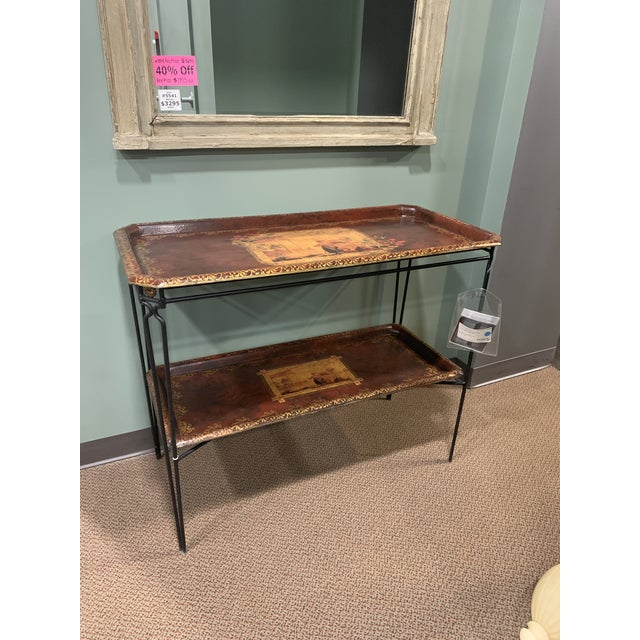 French Two Tier Metal Tole Tray Console or Accent Table For Sale - Image 10 of 11