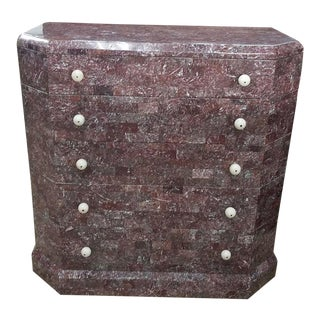 Art Deco Stylized Maitland Smith Lilac Tessellated Stone Chest of Drawers For Sale