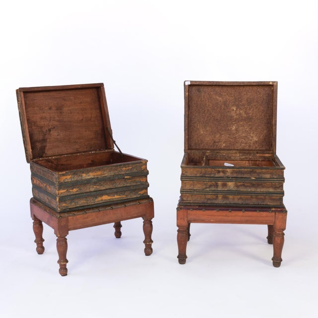 English Traditional French Faux Book Box End Tables on Turned Fruitwood Legs, Circa 1880 - a Pair For Sale - Image 3 of 9