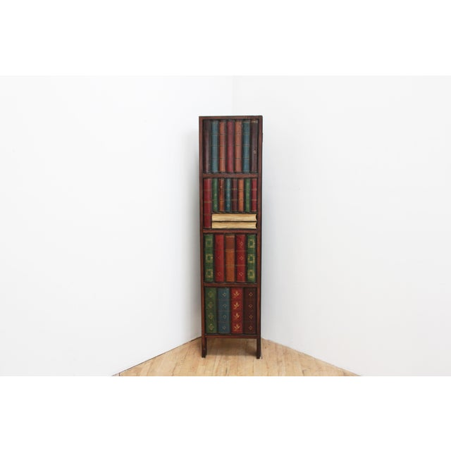 Wood Vintage Trompe l'Oeil Folding Screen- Library Bas Relief Room Divider For Sale - Image 7 of 9
