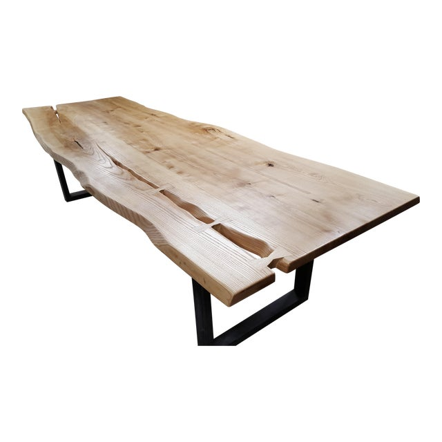Handcrafted Siberian Ash Wood Plank Table - Image 1 of 6