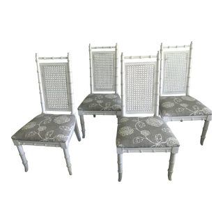 White Faux Bamboo and Cane Dining Chairs - Set of 4 For Sale
