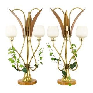 Mid-Century Nomina Organica Brass Plant Lamps - a Pair For Sale