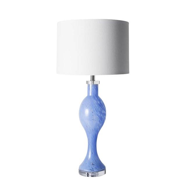 Blue Handblown Glass Flare Lamp For Sale