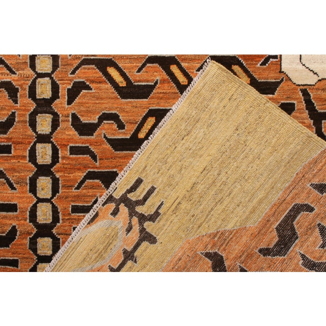 Orange Handknotted Regal Geometric Tiger Rug, Wheat Gold, 9'x14' For Sale - Image 8 of 9