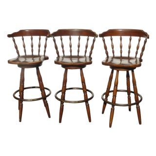 French Country Wood Swivel Bar Stools - Set of 3 For Sale