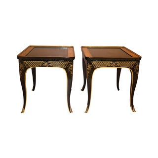 Pair Et Cetera Chinoiserie Black Lacquer Side Tables by Drexel For Sale
