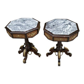 Antique Octagonal Wood With Marble Top Side Tables - Pair For Sale