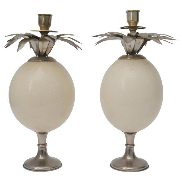 Ostrich Egg Candleholders - a Pair For Sale