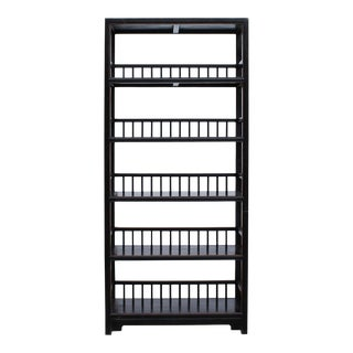 Chinese Distressed Black 5 Shelves Bookcase Display Cabinet For Sale