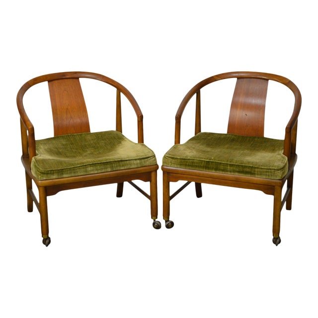 Edward Wormley Dunbar Style Mid-Century Barrel Back Chairs - A Pair - Image 1 of 11