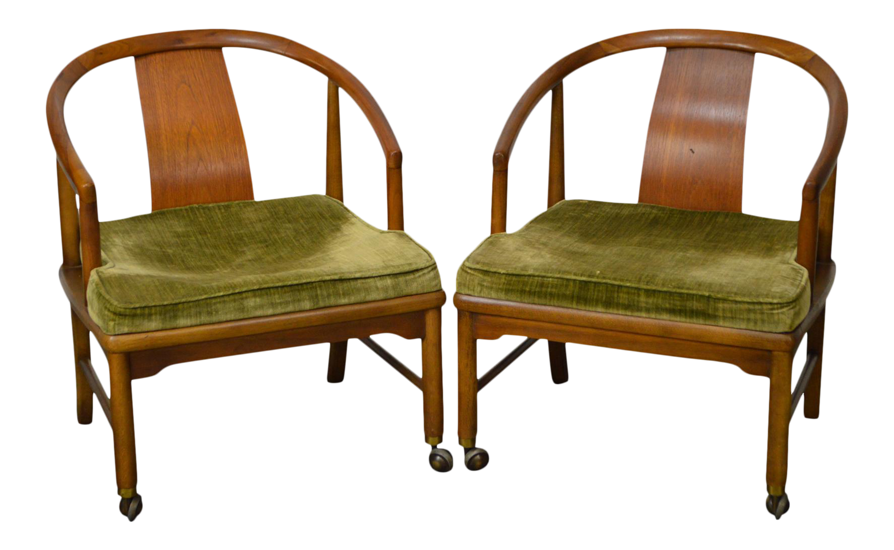 Edward Wormley Dunbar Style Mid Century Barrel Back Chairs   A Pair