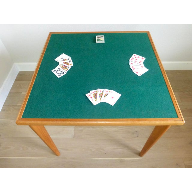Green Mid Century Danish Modern Brdr Furbo Denmark Square Teak Game Table For Sale - Image 8 of 12