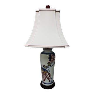 19th Century Japanese Birds on Branch Vase Lamp & Shade For Sale