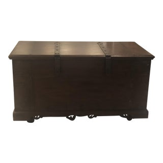 1970s Moroccan Brass Detailed Trunk For Sale