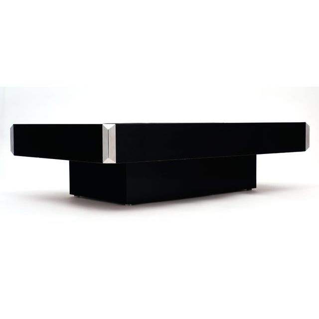 Italian Vintage Ebonized Coffee Table With Chrome by Willy Rizzo For Sale - Image 9 of 10